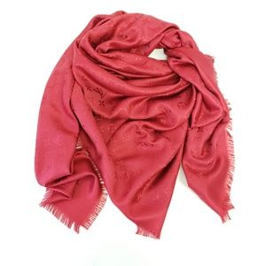 Louis Vuitton Red Shawl Scarf Pomme d' Amoure